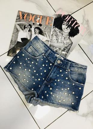 Эксклюзивные джинсовые шорты в набитых бусах от miss selfridge
