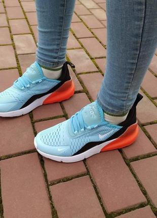 Женские кроссовки nike air max 270 голубые с оранжевым