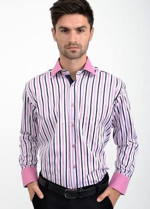 Рубашка мужская бело-розовая в полоску