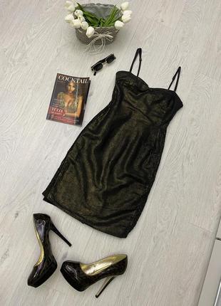 Вечернее платье сарафан с золотым отливом h&m