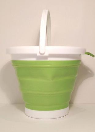 Ведро складное силиконовое 5 литров туристическое  салатовое