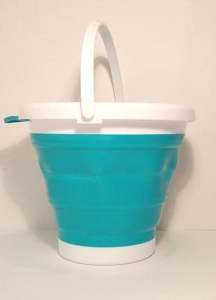 Ведро складное силиконовое 5 литров туристическое голубое