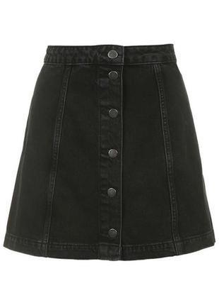 Трендовая  джинсовая юбка трапеция на пуговицах с высокой посадкой