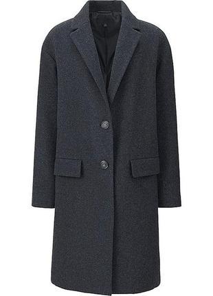 Темно-серое шерстяное пальто uniqlo