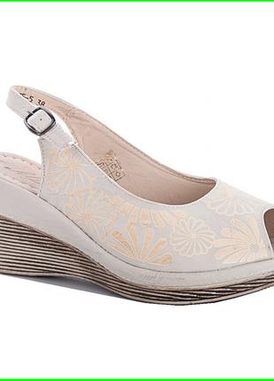 Женские сандалии босоножки на танкетке платформа бежевые летние