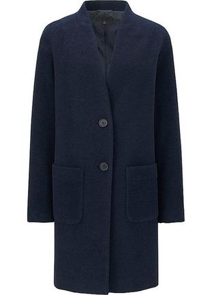 Темно-синее шерстяное пальто uniqlo
