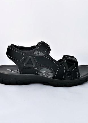 Мужские сандалии черные босоножки на липучке