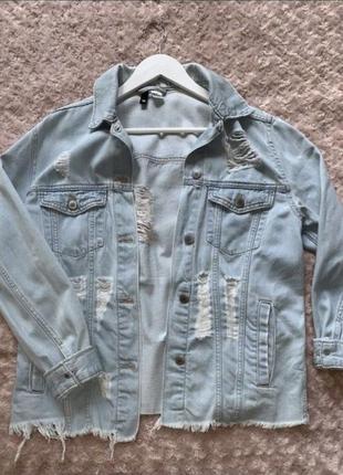 Джинсовка рваная hm джинсовая куртка удлиненная светлая