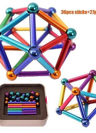 Магнитный конструктор 27 шариков и 36 палочек антистресс игрушка подарок