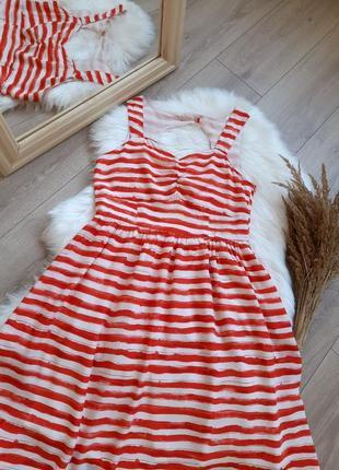 Яскраве  плаття міді сарафан в біло червону полоску по типу тай дай тельняшка р. m l