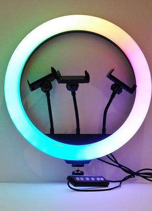 Разноцветная кольцевая rgb лампа хит тик ток 36 см с тремя держателями