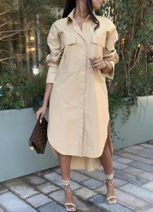 Оверсайз платье zara с накладными карманами7 фото