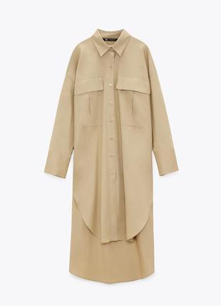 Оверсайз платье zara с накладными карманами