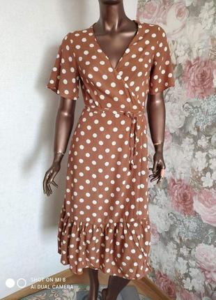 Платье на запах в горошек вискоза primark4 фото
