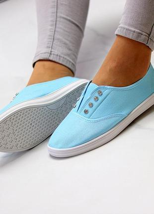 Комфортные практичные голубые спортивные женские мокасины хлопок коттон