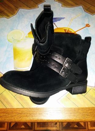 Черные кожаные замшевые короткие рокерские байкерские сапоги ботильоны с ремешками clarks