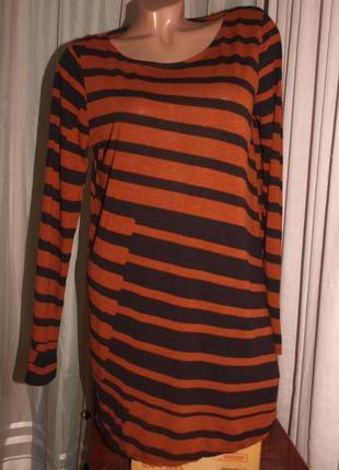 Мягкий свитер-туника (m замеры) полосатый, к телу приятный, отлично смотрится