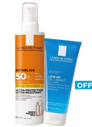 Набор солнцезащитный спрей для лица и тела la roche-posay anthelios и гель lipikar