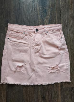 Юбка джинсовая розовая, пудра