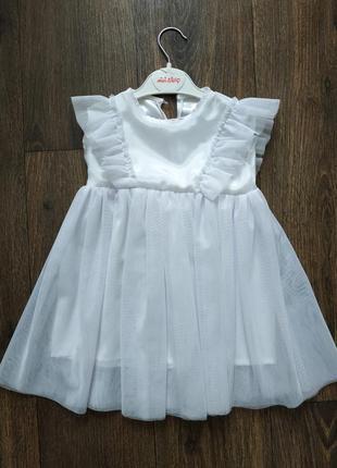 Белое платье на 2-3 года фатин, евросетка
