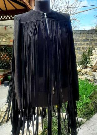 Куртка с бахромой из натурального замша