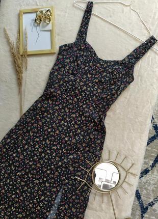 Платье миди с разрезом в цветочек zara2 фото