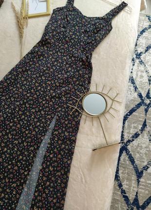 Платье миди с разрезом в цветочек zara