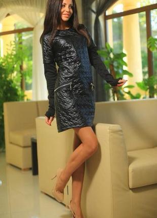 Платье из стеганой кожи и французского трикотажа