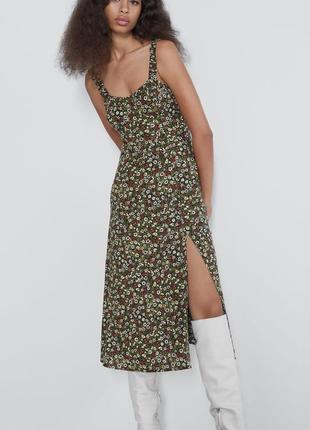 Платье миди с разрезом в цветочек zara7 фото