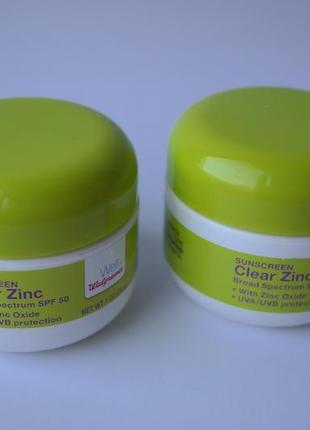 Солнцезащитный крем для тела walgreens spf 50 clear zinc sunscreen