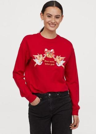 H&m свитшот новогодний красный хлопок