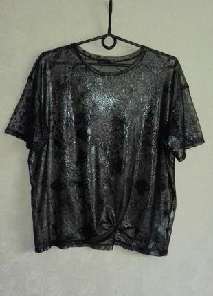 Прозрачная свободная футболка /блузка в сетку без рукавов
