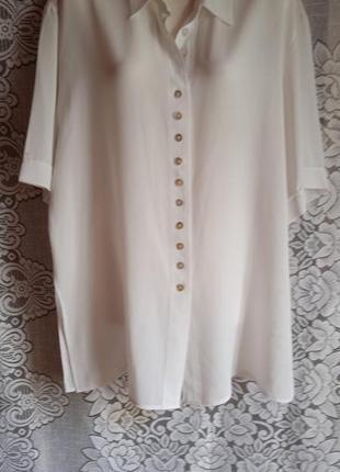 Шелковая классическая  блуза - туника , б/у