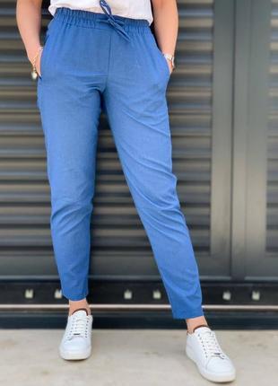 Льняные брюки штаны с карманами лен