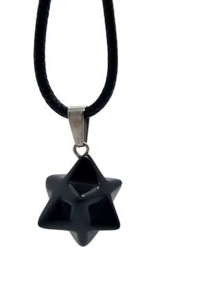 🖤✨ кулон на цепочке/шнурке меркаба натуральный камень черный агат