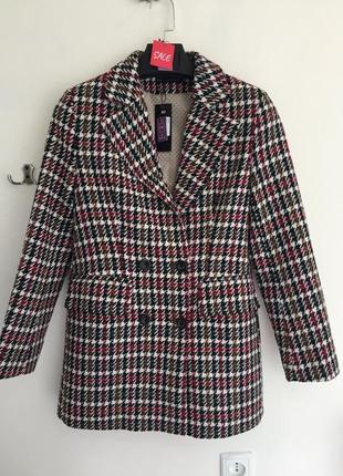 Двубортный пиджак в гусиную лапку