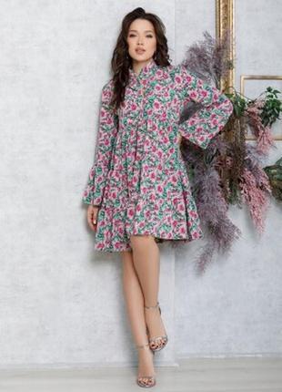 Цветочное расклешенное платье-трапеция с воланами (12575)
