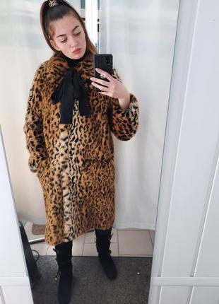 Шуба леопард h&m