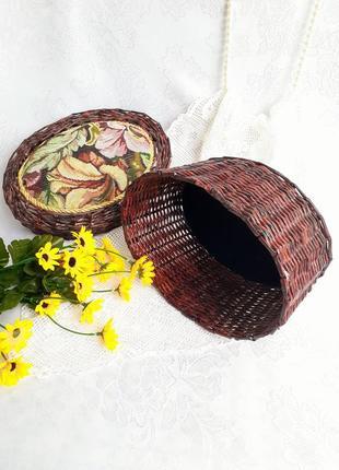 Шкатулка корзина ручная работа гобелен соломка короб корзинка плетеная