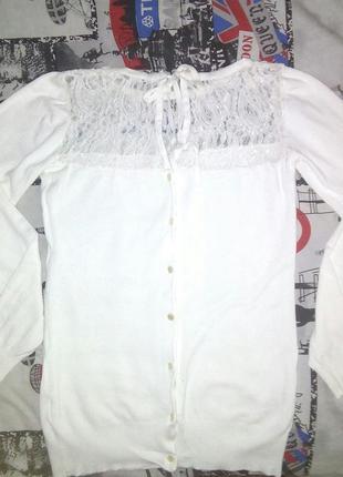 Белая кофточка с пуговичками на спинке/возможен обмен
