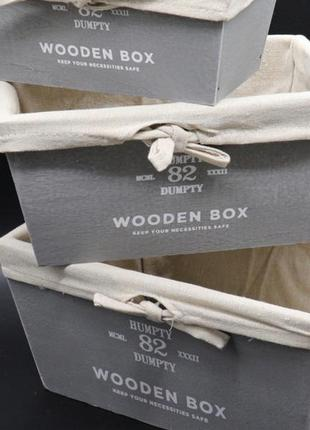Дерев'яні кошики з тканиною. колір сірий. 28х19х14см