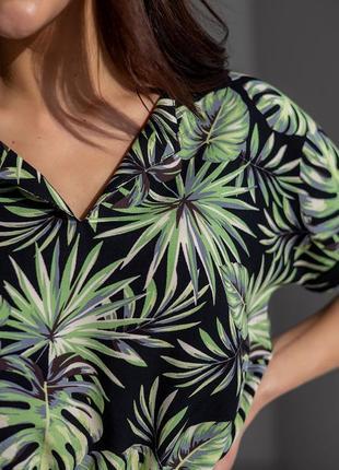 Летнее платье в тропический принт 42-48 р.9 фото