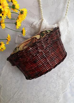 Шкатулка корзинка плетеная короб с крышкой ручная работа винтаж гобелен