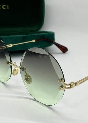 Gucci очки женские солнцезащитные граненные кругляшки с зелеными линзами