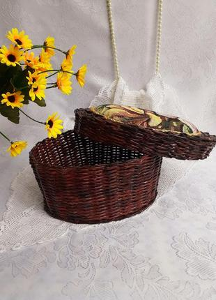 Шкатулка корзинка плетеная ручной работы винтаж гобелен короб соломка