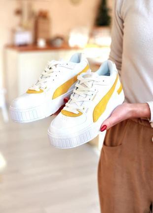 Puma cali sport heritage white/gold белые/песочные/жёлтые кроссовки пума