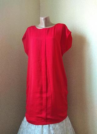 Красное летнее платье оверсайз свободный крой