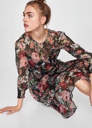 Шифоновое платье в цветочный принт2 фото