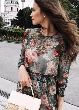 Шифоновое платье в цветочный принт3 фото