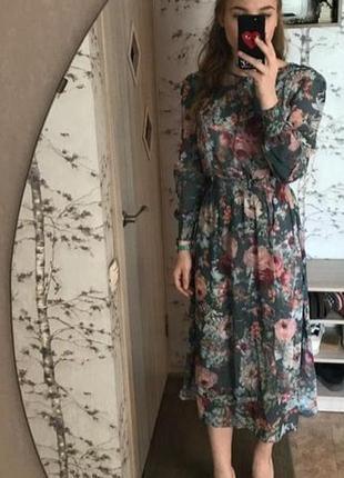Шифоновое платье в цветочный принт4 фото